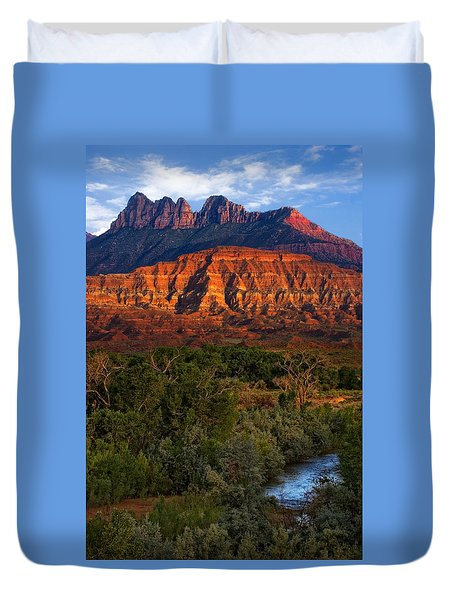 Virgin River Near Zion National Park Duvet Cover by Utah Images