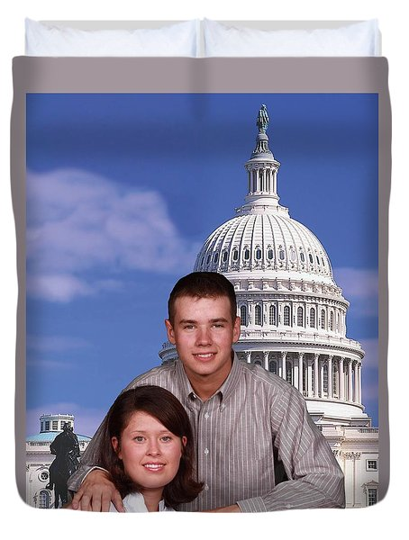 Duvet Cover featuring the photograph Visiting The Capitol by Robert Hebert