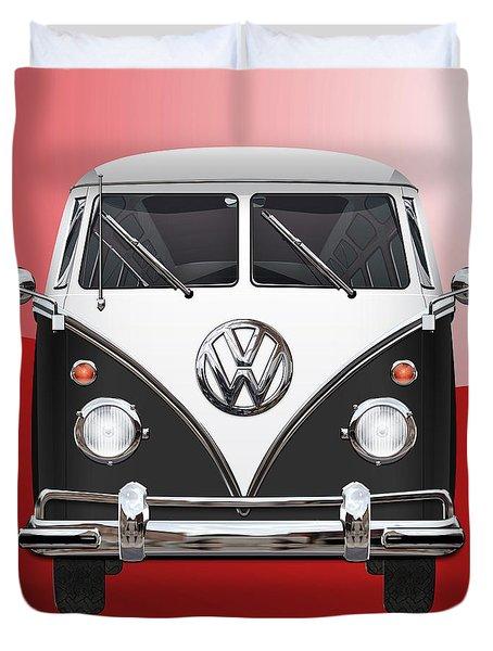 Volkswagen Type 2 - Black And White Volkswagen T 1 Samba Bus On Red  Duvet Cover