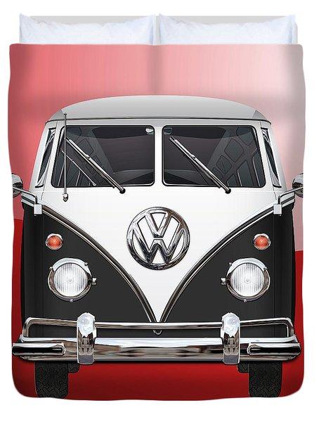 Volkswagen Type 2 - Black And White Volkswagen T 1 Samba Bus On Red  Duvet Cover by Serge Averbukh