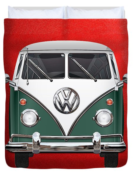 Volkswagen Type 2 - Green And White Volkswagen T 1 Samba Bus Over Red Canvas  Duvet Cover by Serge Averbukh