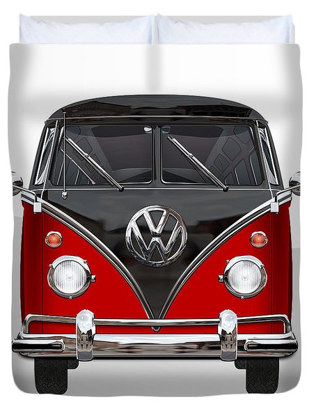 Volkswagen Type 2 - Red And Black Volkswagen T 1 Samba Bus On White  Duvet Cover