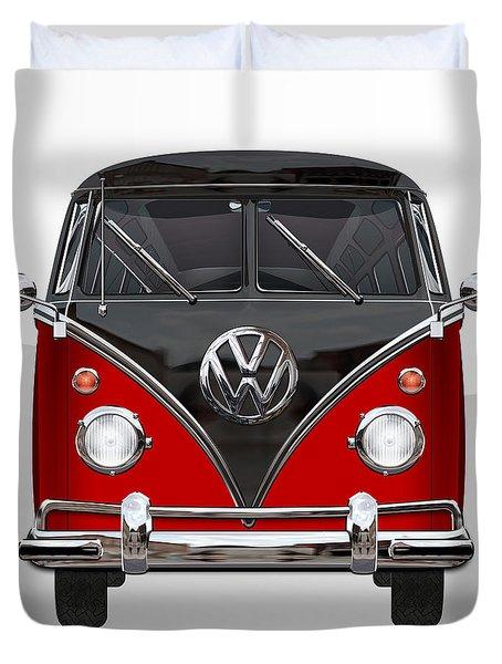 Volkswagen Type 2 - Red And Black Volkswagen T 1 Samba Bus On White  Duvet Cover by Serge Averbukh