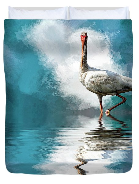Wading Ibis Duvet Cover by Cyndy Doty