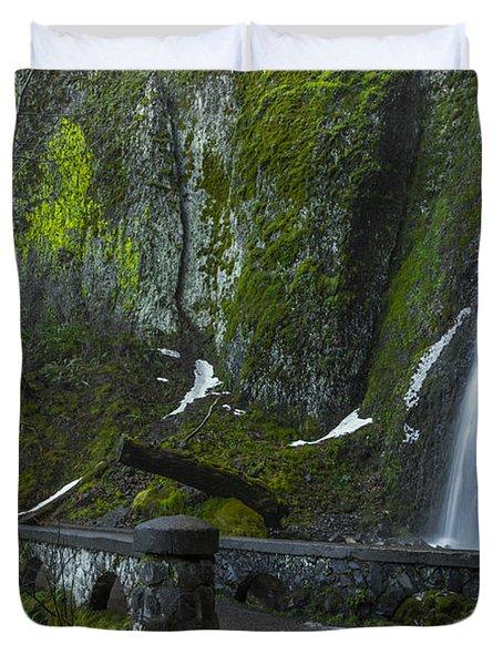 Wahkeena Falls Bridge Signed Duvet Cover