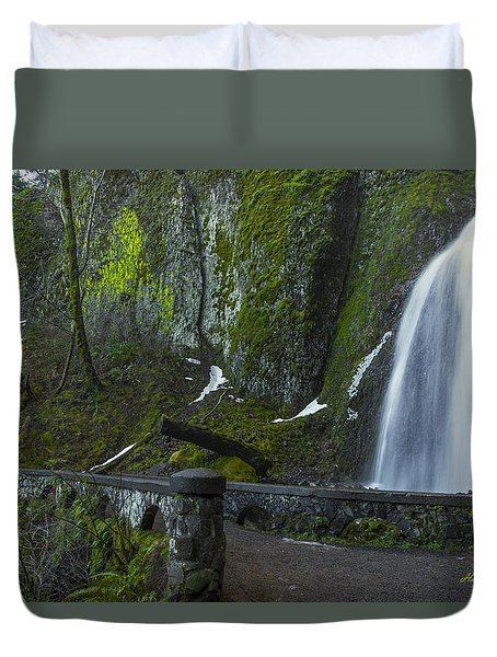 Wahkeena Falls Bridge Signed Duvet Cover