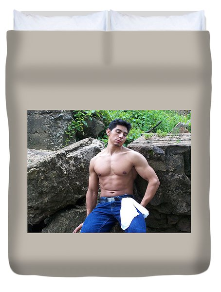 Duvet Cover featuring the photograph Waiting by Jake Hartz