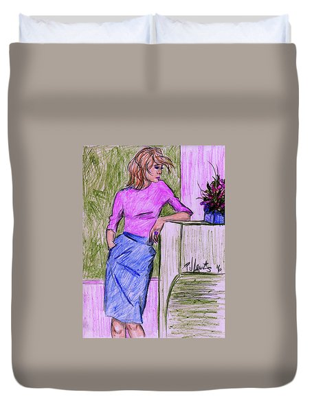 Duvet Cover featuring the drawing Waiting by P J Lewis
