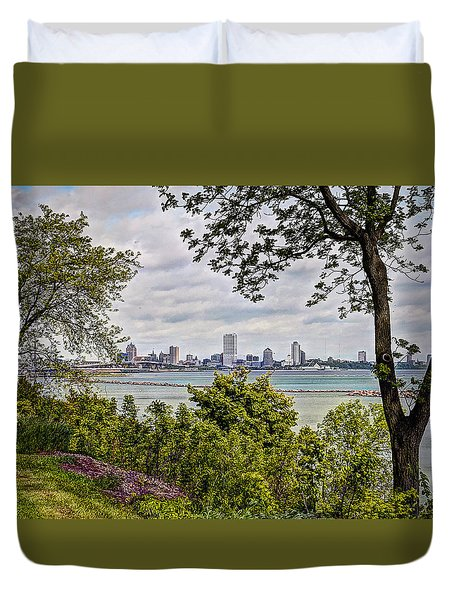 Duvet Cover featuring the photograph Wake Up Milwaukee by Deborah Klubertanz