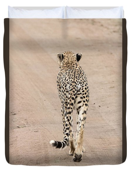 Duvet Cover featuring the photograph Walking Away by Pravine Chester