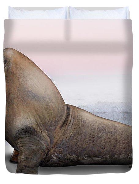 Duvet Cover featuring the painting Walrus Odobenus Rosmarus - Marine Mammal - Walross by Urft Valley Art