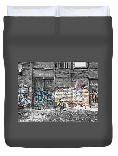 Warehouse In Lisbon Duvet Cover by Ehiji Etomi