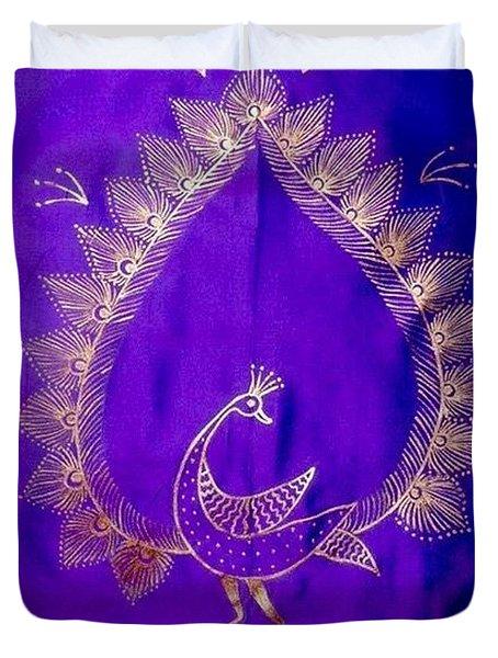 Warli Peacock Duvet Cover