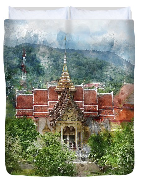 Wat Chalong In Phuket Thailand Duvet Cover