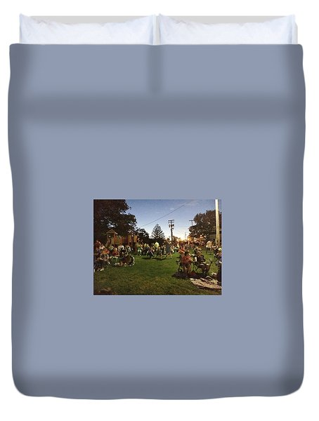 Watching Fireworks Duvet Cover