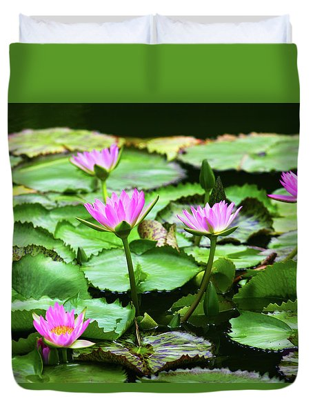 Duvet Cover featuring the photograph Water Lilies by Anthony Jones