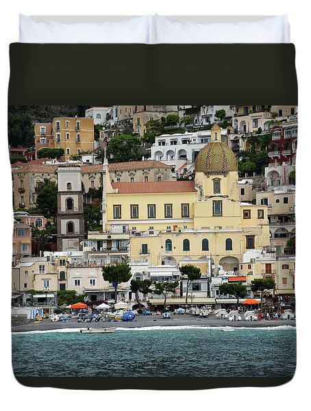 Water Taxi From Amalfi To Positano Duvet Cover