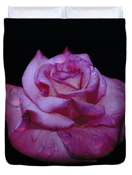 Watered Red Rose Duvet Cover