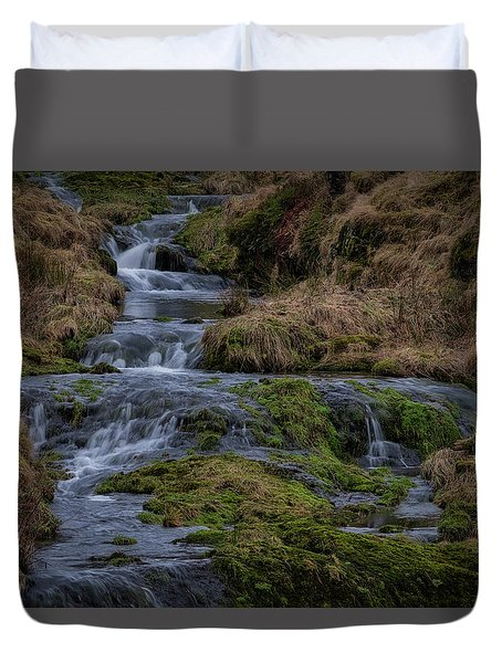 Duvet Cover featuring the photograph Waterfall At Glendevon In Scotland by Jeremy Lavender Photography