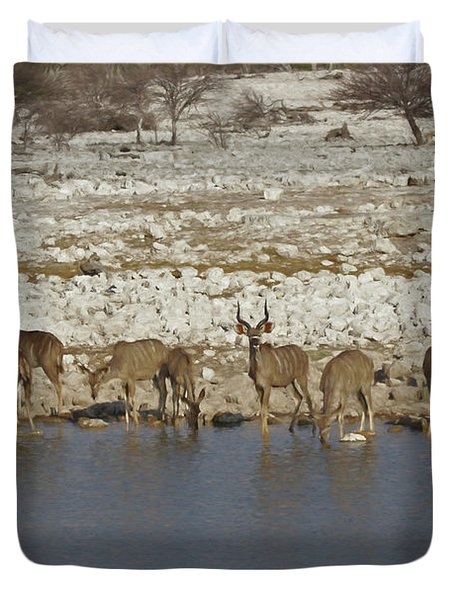 Duvet Cover featuring the digital art Waterhole Kudu by Ernie Echols