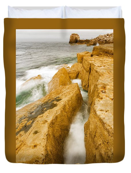 Duvet Cover featuring the photograph Waves Crashing Over Portland Bill by Ian Middleton