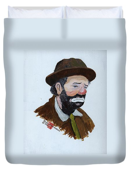 Weary Willie The Clown Duvet Cover by Arlene  Wright-Correll