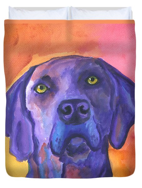 Weimaraner Dog Art Duvet Cover by Mary Jo Zorad