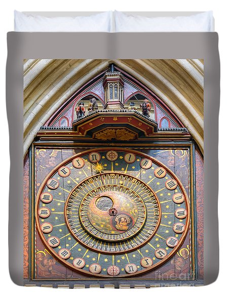 Wells Cathedral Clock Duvet Cover