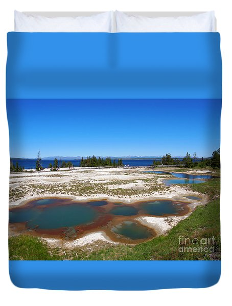West Thumb Geyser Basin In Yellowstone National Park Duvet Cover by Louise Heusinkveld