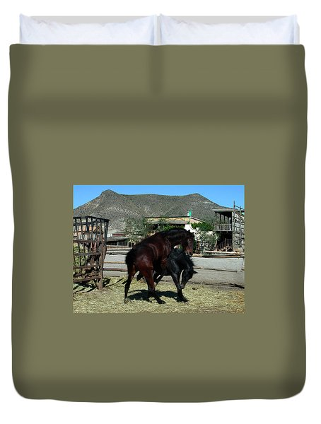 Duvet Cover featuring the photograph Western Horses In Spain by Colette V Hera  Guggenheim