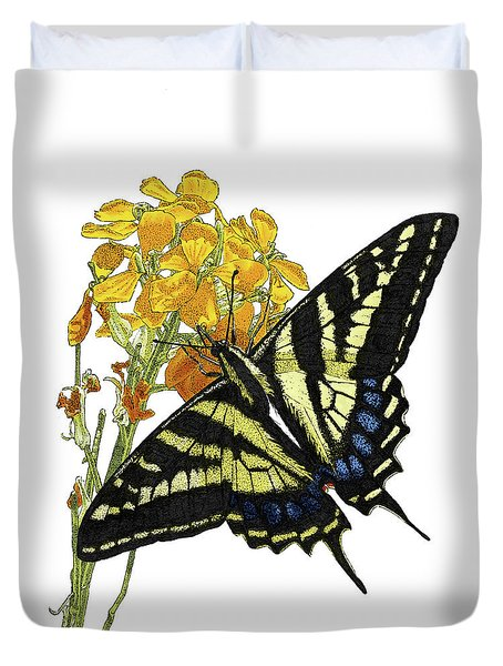 Western Tiger Swallowtail On A Western Wallflower Duvet Cover