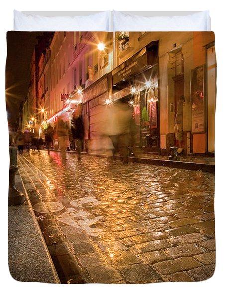 Wet Paris Street Duvet Cover