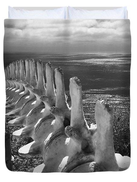 Whale Bones In Black And White Duvet Cover