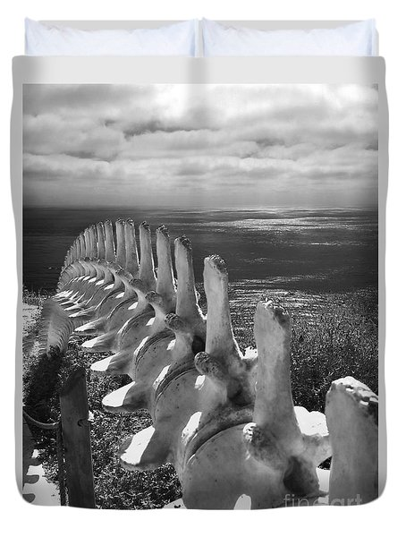 Whale Bones In Black And White Duvet Cover by Gregory Dyer