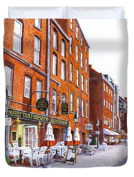 Wharf Street Portland Maine Duvet Cover by Thomas Michael Meddaugh