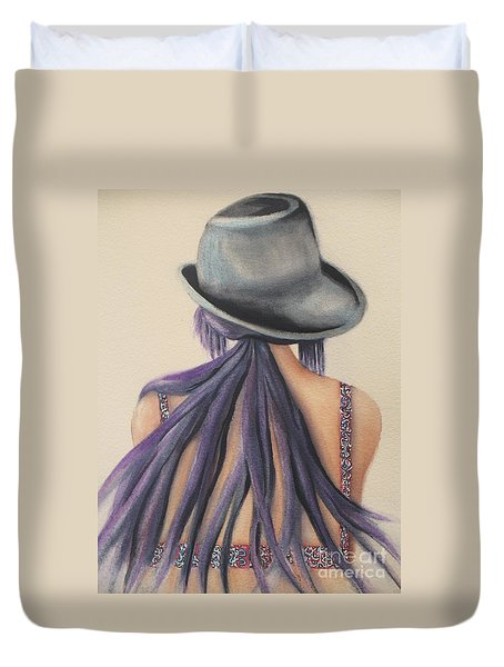 Duvet Cover featuring the painting What Lies Ahead Series   by Chrisann Ellis