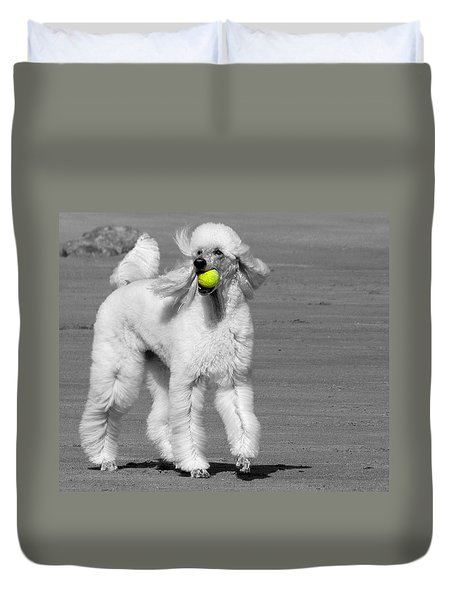 Pedicured Pup Hits The Beach Duvet Cover