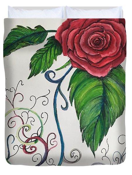 Whimsical Red Rose Duvet Cover