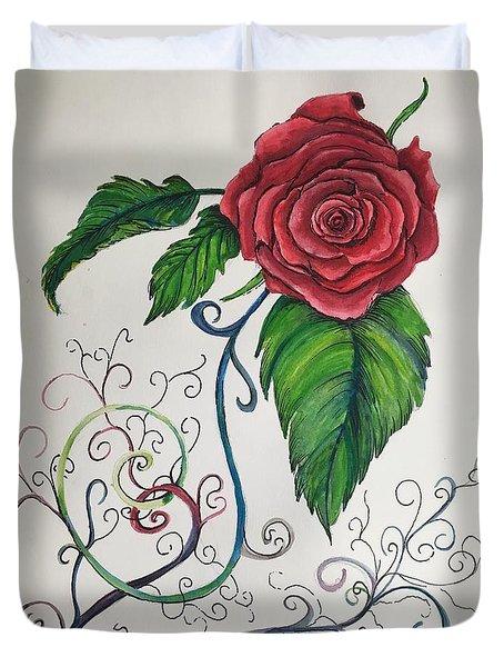 Whimsical Red Rose Duvet Cover