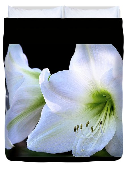 Duvet Cover featuring the photograph White Amaryllis  by Saija Lehtonen