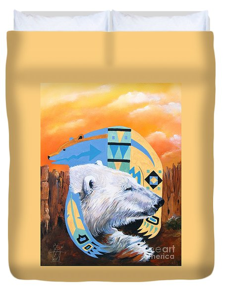 White Bear Goes Southwest Duvet Cover