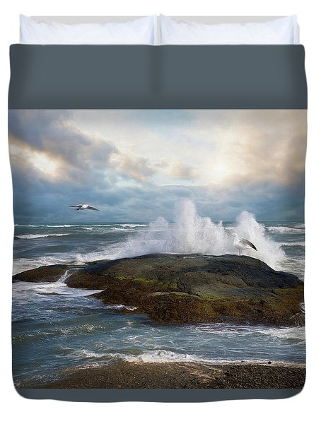Duvet Cover featuring the photograph White Caps by Robin-Lee Vieira