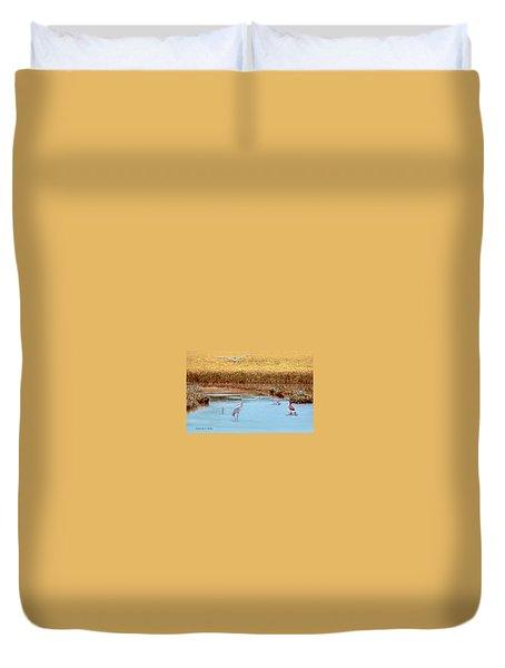 White Crane  Duvet Cover