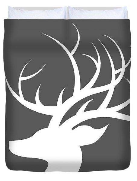 White Deer Silhouette Duvet Cover