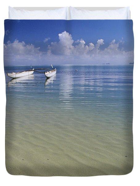 White Double Hull Canoe Duvet Cover by Joss - Printscapes