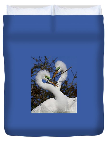 White Egrets Working Together Duvet Cover by Myrna Bradshaw