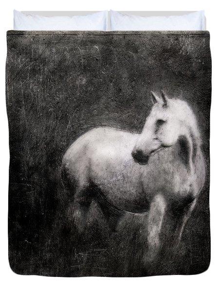 White Horse Duvet Cover by Roseanne Jones