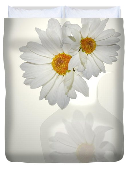 White On White Daisies Duvet Cover by Joyce Dickens