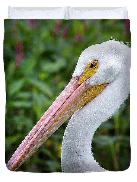 Duvet Cover featuring the photograph White Pelican by Robert Frederick