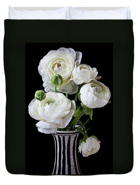 White Ranunculus In Black And White Vase Duvet Cover